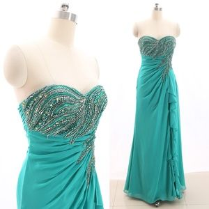 Strapless Crystals Jade Prom Dress Formal Gown